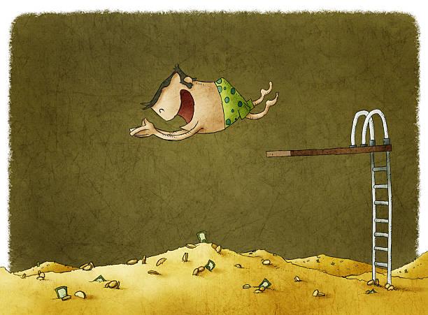 Man diving into a big pile of money vector art illustration