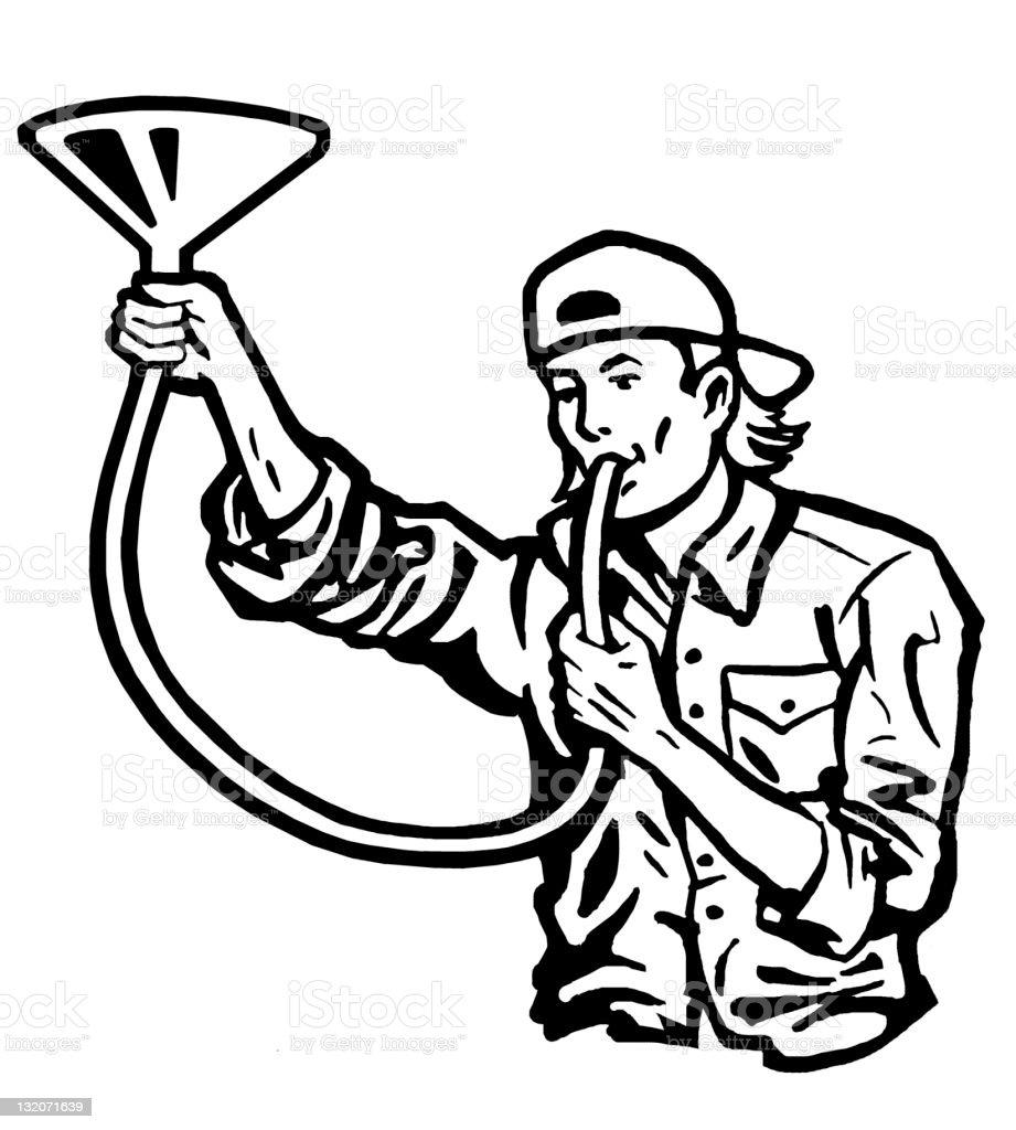 Man Doing a Beer Bong vector art illustration
