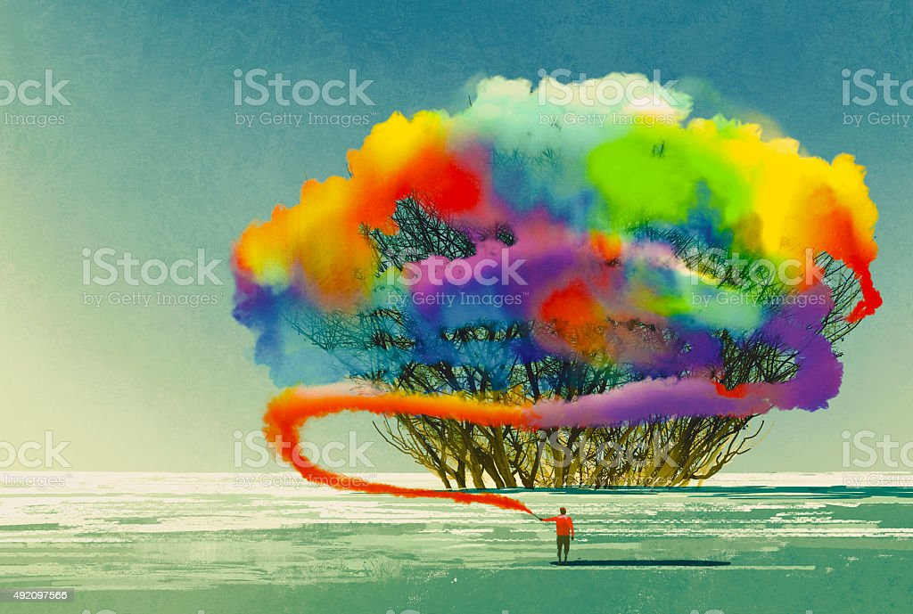 man draws abstract tree with colorful smoke flare vector art illustration