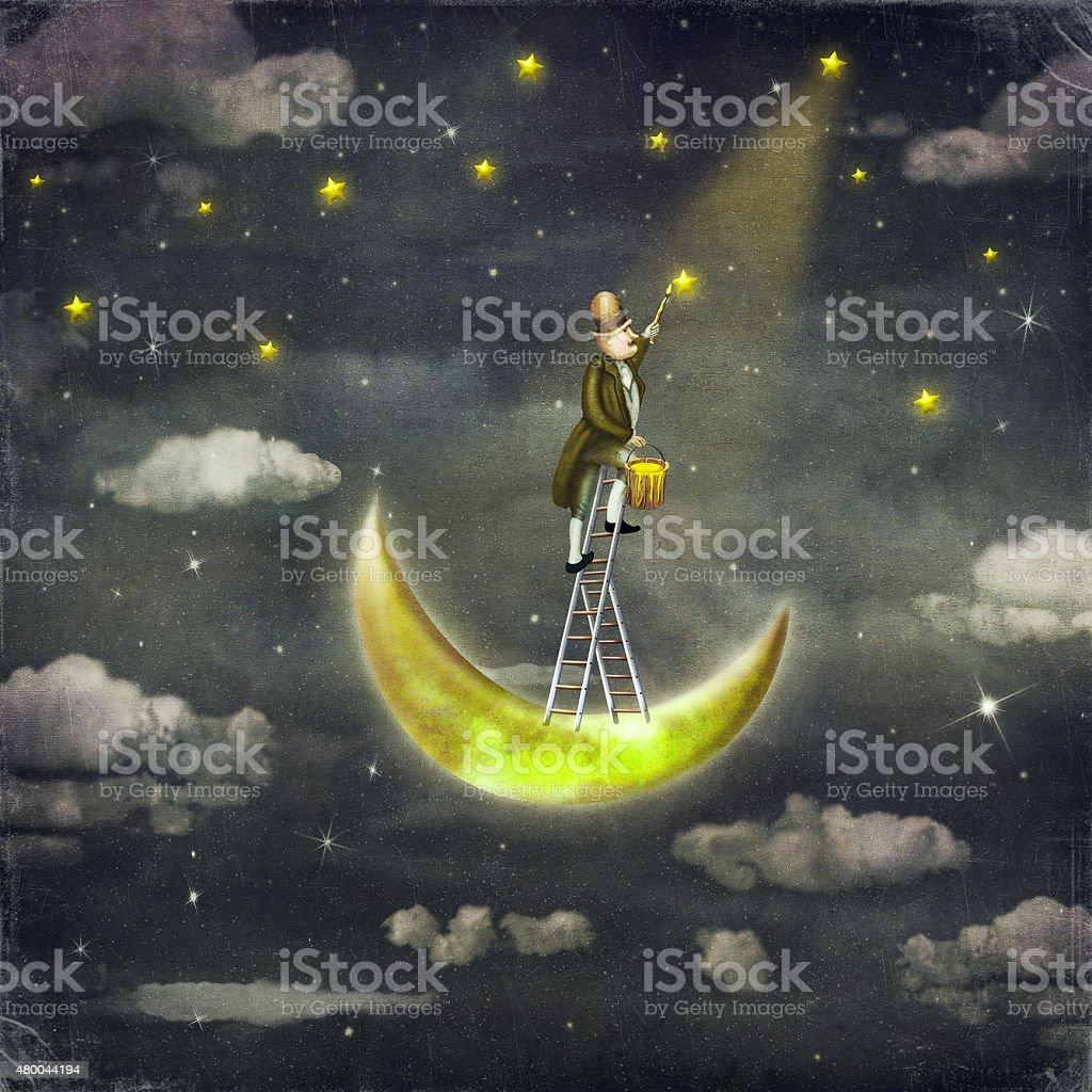 Man draws  stars  at top of tall ladder vector art illustration
