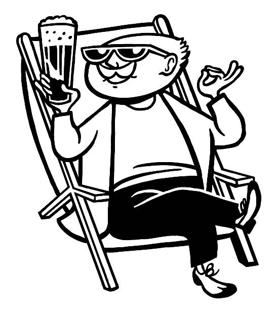 man drinking cocktail sitting in chair - old man sunglasses stock illustrations, clip art, cartoons, & icons