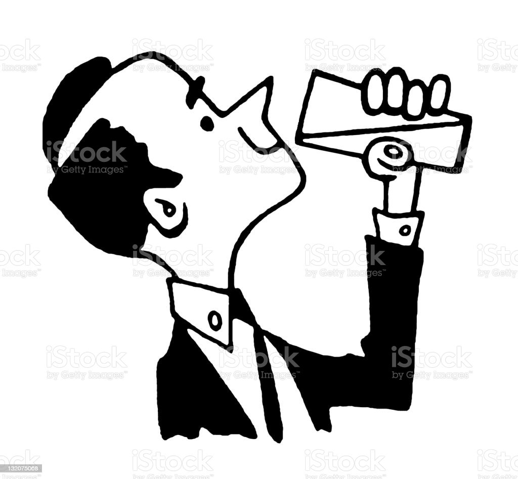 Man Drinking From a Glass royalty-free stock vector art