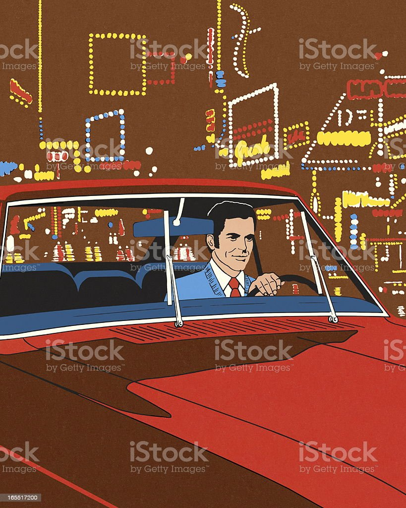 Man Driving in the City at Night royalty-free stock vector art