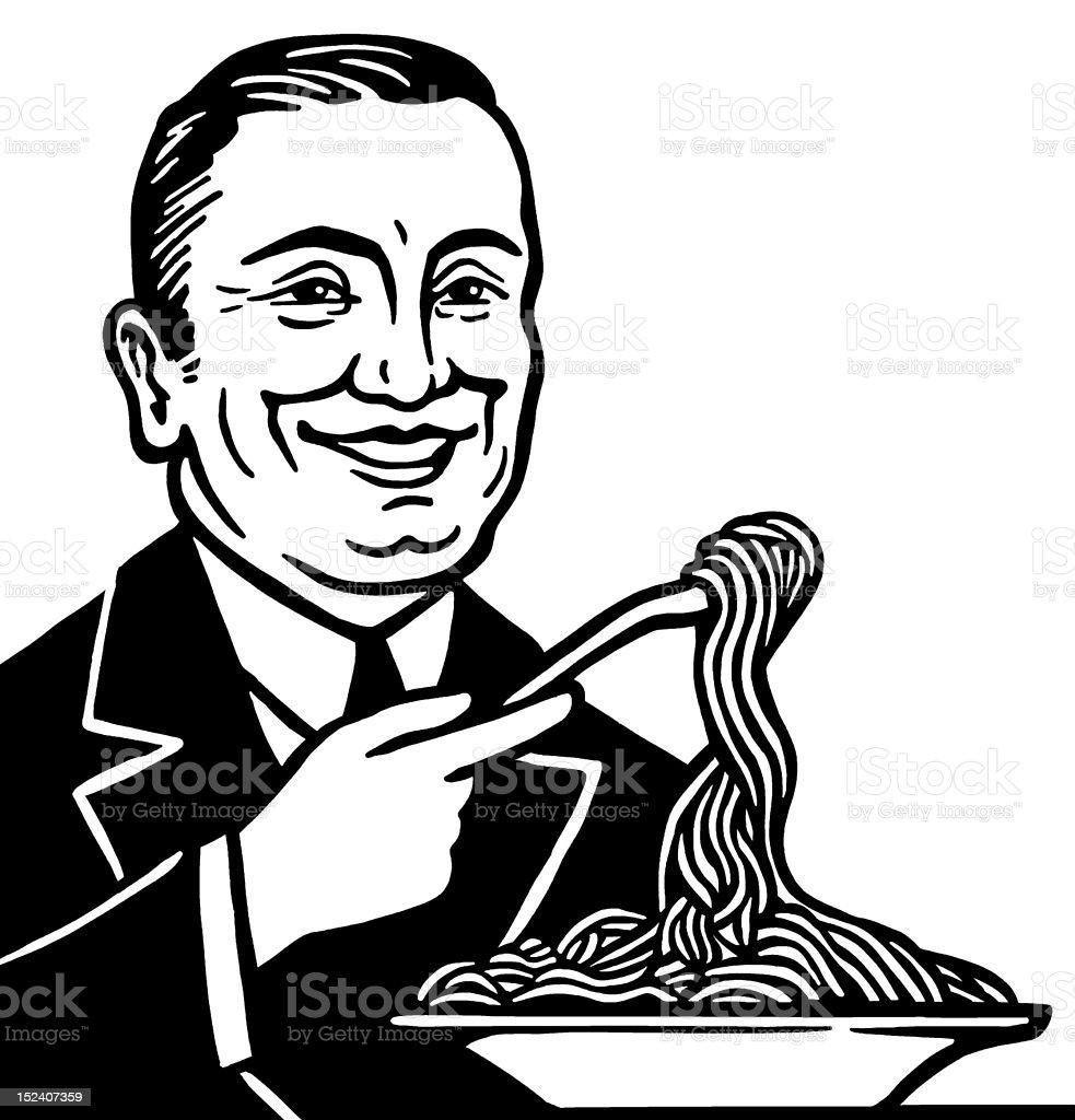 Man Eating Spaghetti royalty-free stock vector art