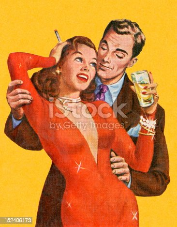 Man Embracing Woman in Red Dress