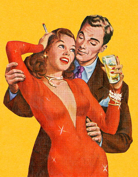 Homme embrassant femme en robe rouge - Illustration vectorielle