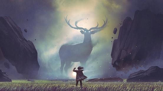man encountering the legendary deer