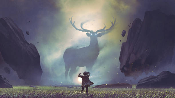 man encountering the legendary deer the man with a magic lantern facing the giant deer in a mysterious valley, digital art style, illustration painting dreamlike stock illustrations