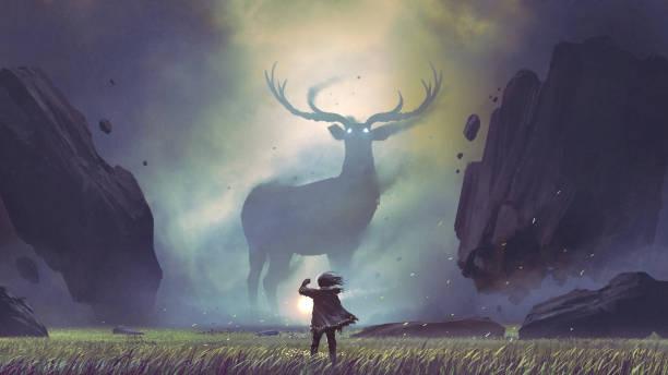 ilustraciones, imágenes clip art, dibujos animados e iconos de stock de hombre que se encuentra con el ciervo legendario - soñar despierto