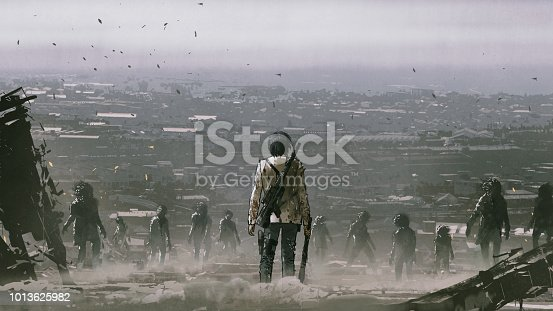man with weapons facing a crowd of zombies against post apocalypse world, digital art style, illustration painting