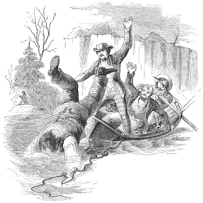 Man Falling Overboard while Net Fishing on a River (19th Century)