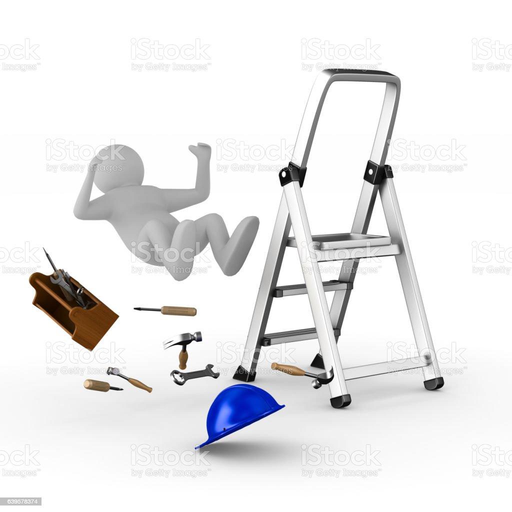 man falls from ladder on white background. Isolated 3D image - ilustração de arte em vetor