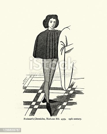 Vintage illustration of a man in the fashion of the mid 15th Century, wearing hose and long point shoes (Crakows or crackowes)