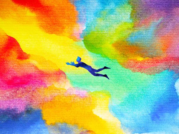 ilustraciones, imágenes clip art, dibujos animados e iconos de stock de hombre volando en sueño colorido abstracto universo ilustración acuarela diseño dibujado a mano - profesional de salud mental