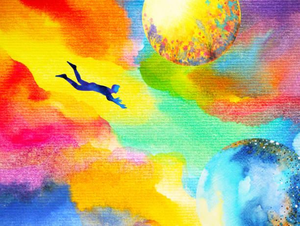 bildbanksillustrationer, clip art samt tecknat material och ikoner med man flyger i abstrakt färgglada dröm universum illustration akvarell design hand dras - earth from space