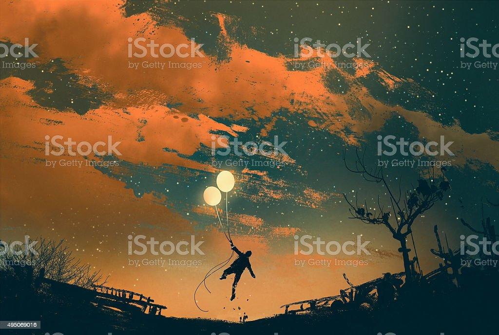 man flying with balloon lights at sunset vector art illustration