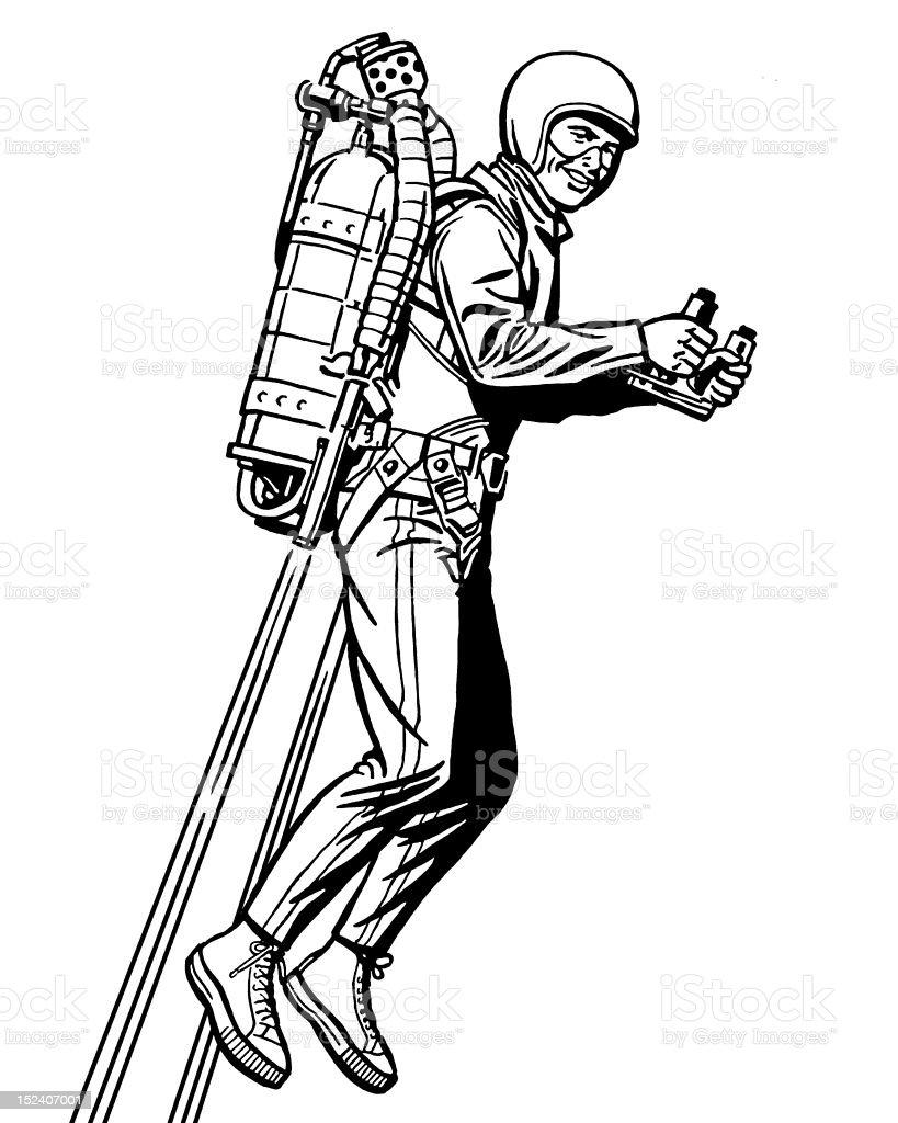 Man Flying With Rocket Pack vector art illustration