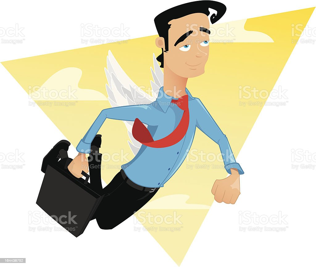 Man flying with wings royalty-free stock vector art
