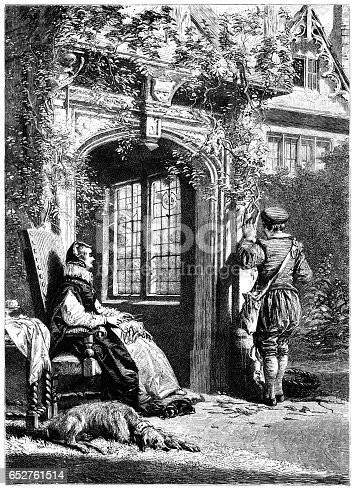 """A wealthy 16th century woman sitting outside her doorway in a large throne-like chair with a sleeping hound at her feet while a gardener tends the vine which rampages around the porch. She pretends to be sewing but is really keeping a stern eye on his progress. From """"The Merrie Days of England; Sketches of the Olden Time"""" by Edward McDermott. Published by William Kent & Co, London, in 1859."""