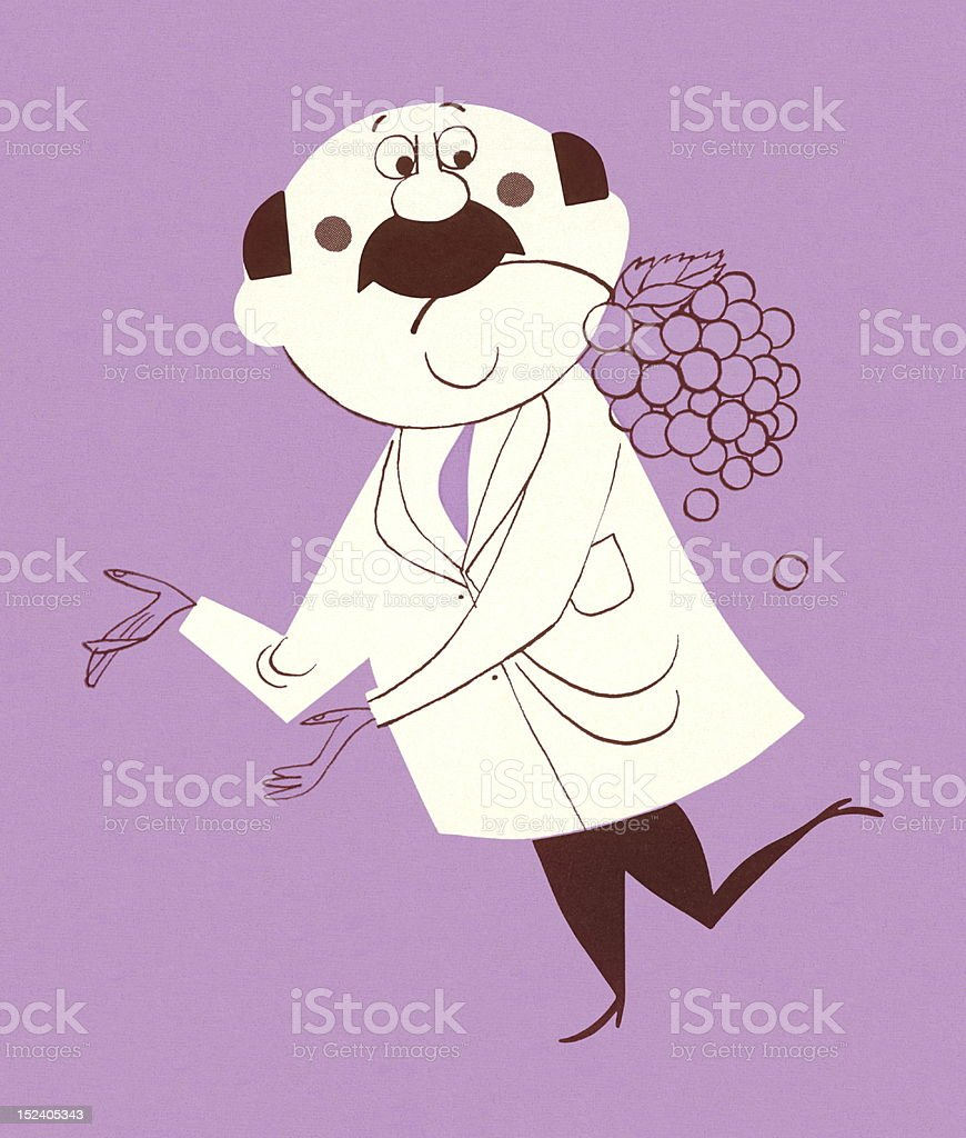 Man Gesturing With Grapes in His Mouth royalty-free stock vector art