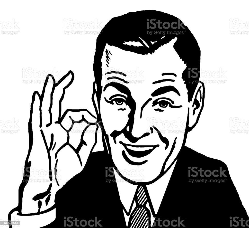 Man Giving OK Sign vector art illustration