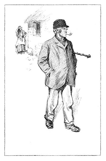 man going for a walk - old man smoking pipe drawing stock illustrations, clip art, cartoons, & icons