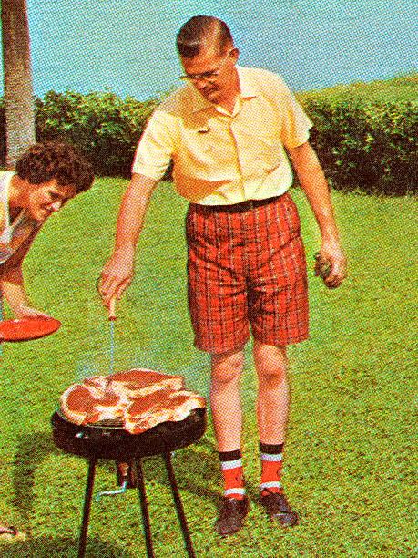 Homme Grillades de Steaks - Illustration vectorielle