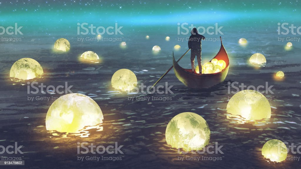 man harvesting moons on the sea night scenery of a man rowing a boat among many glowing moons floating on the sea, digital art style, illustration painting Fantasy stock illustration