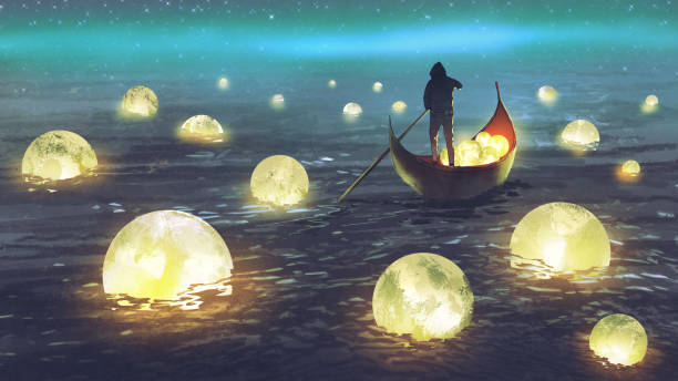 man harvesting moons on the sea night scenery of a man rowing a boat among many glowing moons floating on the sea, digital art style, illustration painting dreamlike stock illustrations