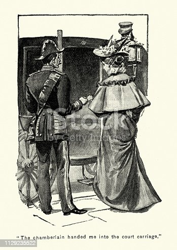 Vintage engraving of Man helping a woman on to a horsedrawn carriage, Victorian, late 19th Century