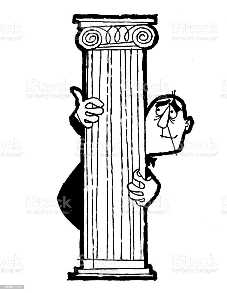 Man Hiding Behind Pillar royalty-free stock vector art