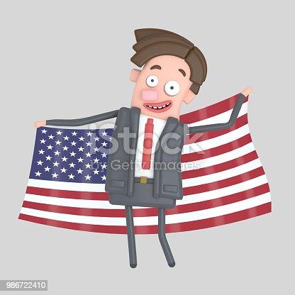 istock Man holding a big flag of USA. 986722410
