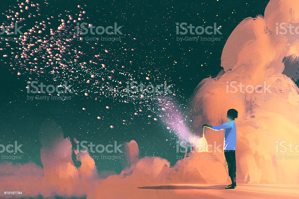 man holding a cage with floating star dust - ilustración de arte vectorial