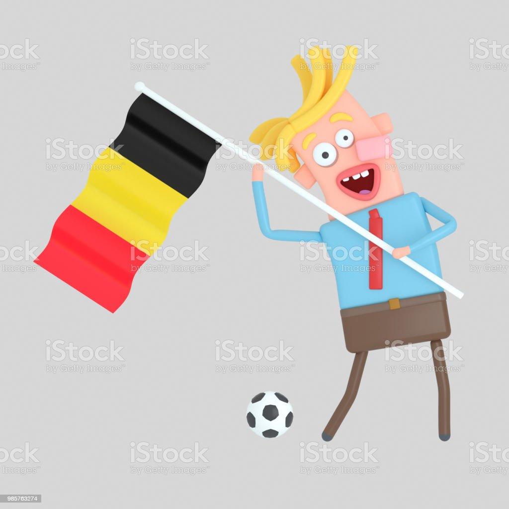 Hombre sosteniendo una bandera de Bélgica. - ilustración de arte vectorial