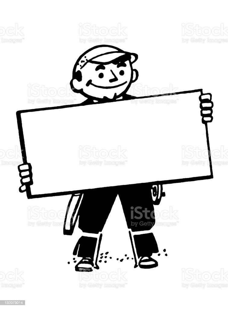 Man Holding Blank Sign royalty-free man holding blank sign stock vector art & more images of adult