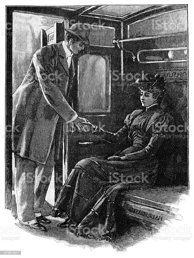 Man holding hands with sad woman on a train royalty-free stock vector art