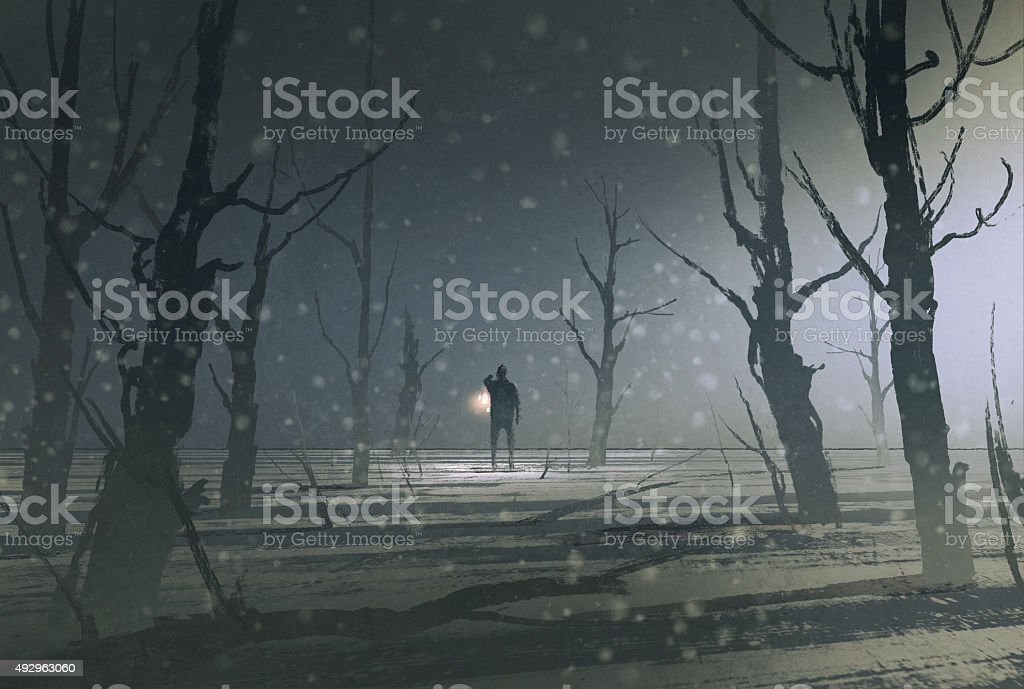 man holding lantern stands in dark forest with fog vector art illustration