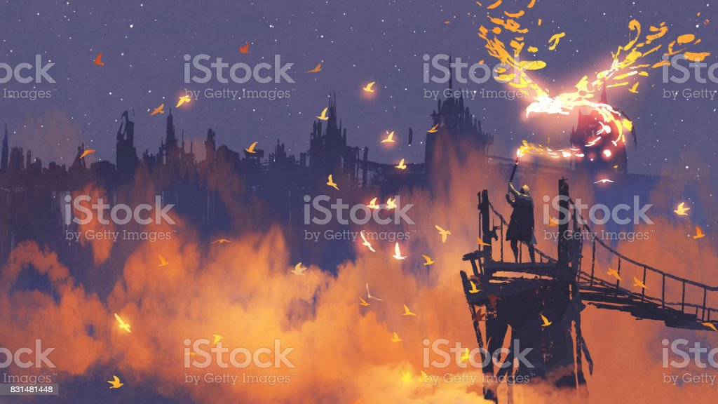 man holding magic torch against city with orange smoke vector art illustration