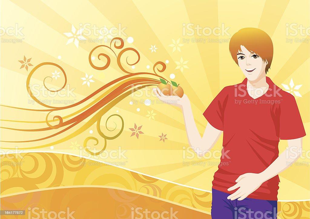 Man holding oranges royalty-free stock vector art