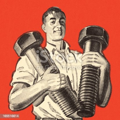 istock Man Holding Two Giant Bolts 165516614
