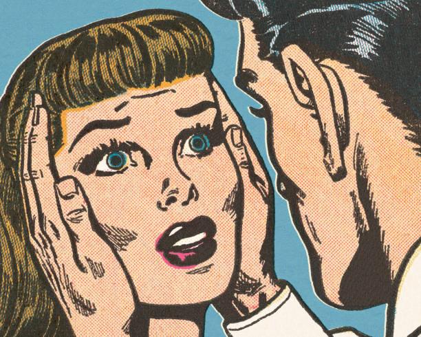 Tête de la femme Holding homme - Illustration vectorielle