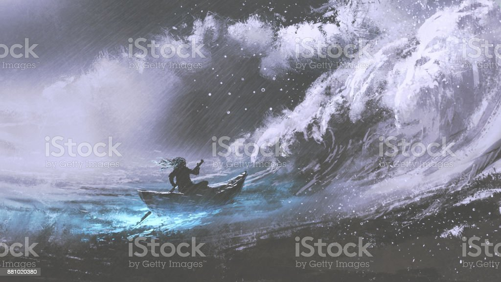 man in a boat in stormy sea vector art illustration