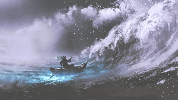 man in a boat in stormy sea man rowing a magic boat in stormy sea with rogue waves, digital art style, illustration painting storm stock illustrations