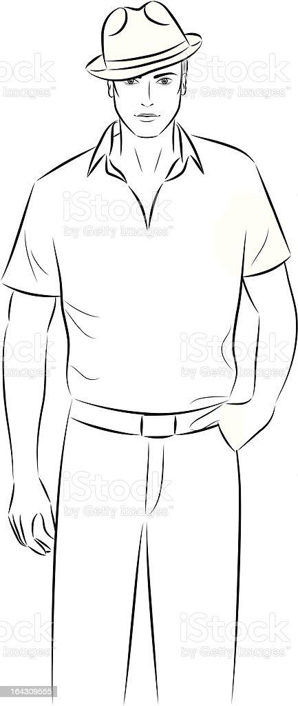 Man in a hat. vector art illustration