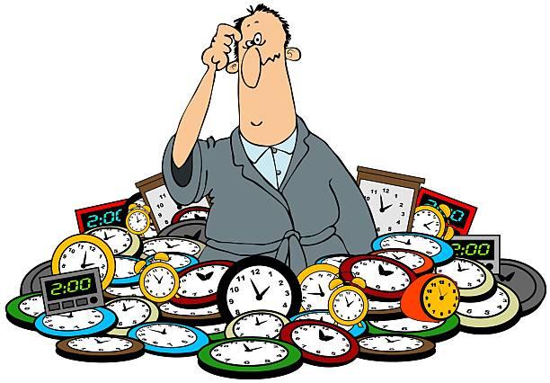 man in a pile of clocks - spring forward stock illustrations, clip art, cartoons, & icons