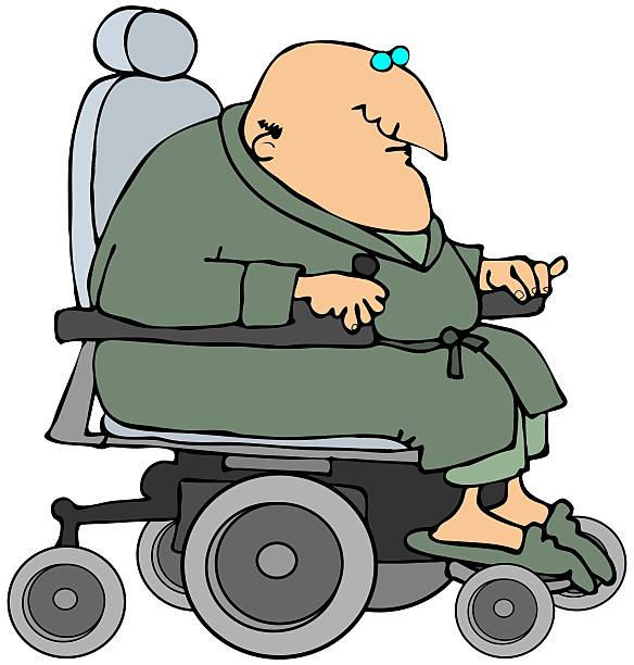 man in a power chair - old man pajamas stock illustrations, clip art, cartoons, & icons