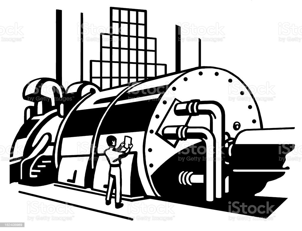 Man in Factory Looking at Paper royalty-free man in factory looking at paper stock vector art & more images of adult