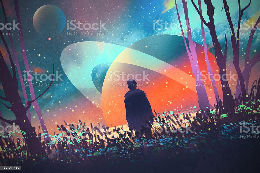 man in forest with fictional planets background vector art illustration