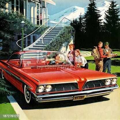 Man in Red Vintage Car