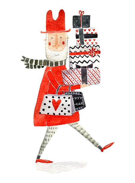 bildbanksillustrationer, clip art samt tecknat material och ikoner med man in red watercolor illustration - christmas gift family